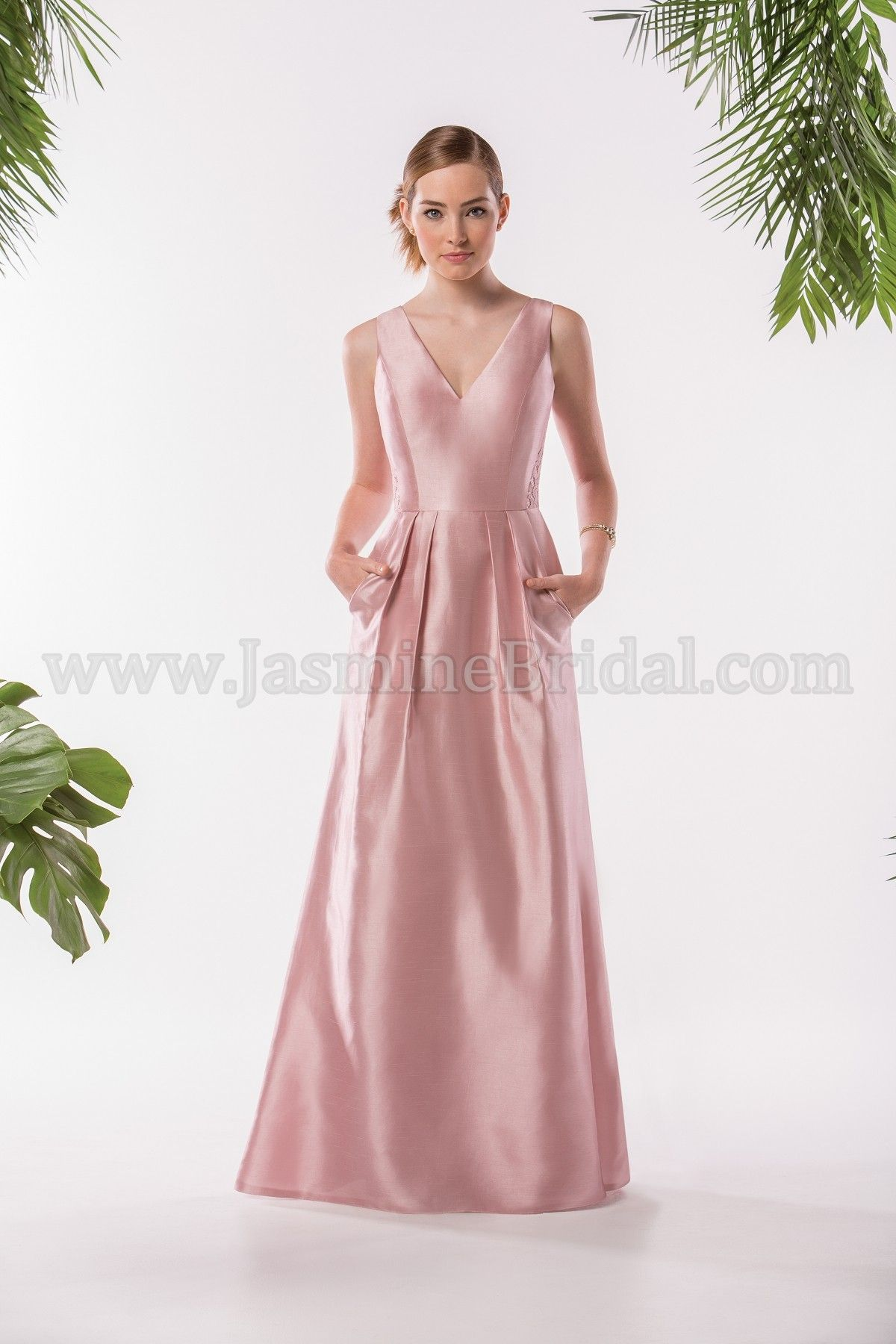 Jasmine Bridal Bridesmaid Dress Bridesmaids Style P186009 In Misty Pink