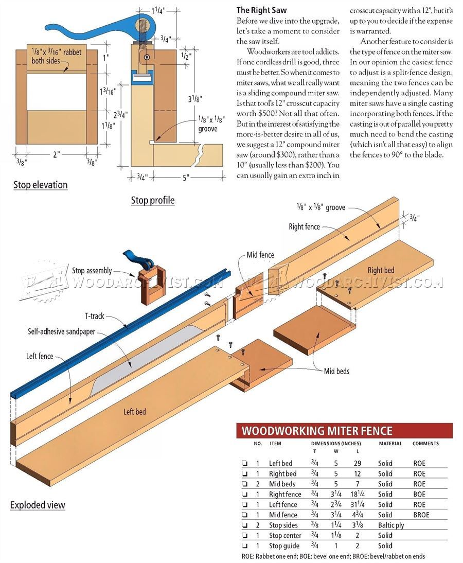 #1051 Miter Saw Fence Plans - Miter Saw Tips, Jigs and Fixtures