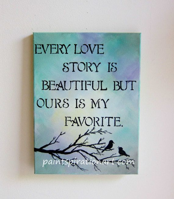 Superbe Every Love Story Is Beautiful Love Birds Art Original Painting 12x16    Wedding Anniversary Gifts