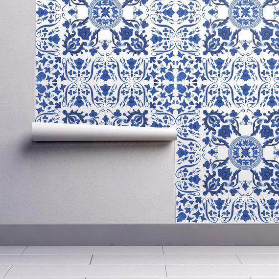 Tile Wallpaper Folk Tiles Blue And White By Etsy Tile Wallpaper Removable Wallpaper Wallpaper Roll