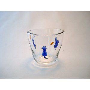 Amazon.co.jp: 月を見るネコ 手びねり風 フリーカップグラス: ホーム&キッチン