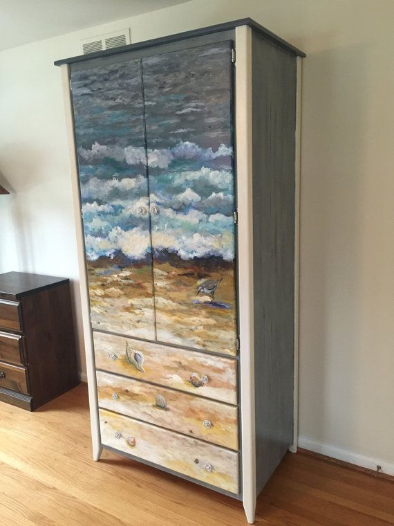 Hand Painted Armoire Wardrobe Cabinet of the Beach | Muebles ...