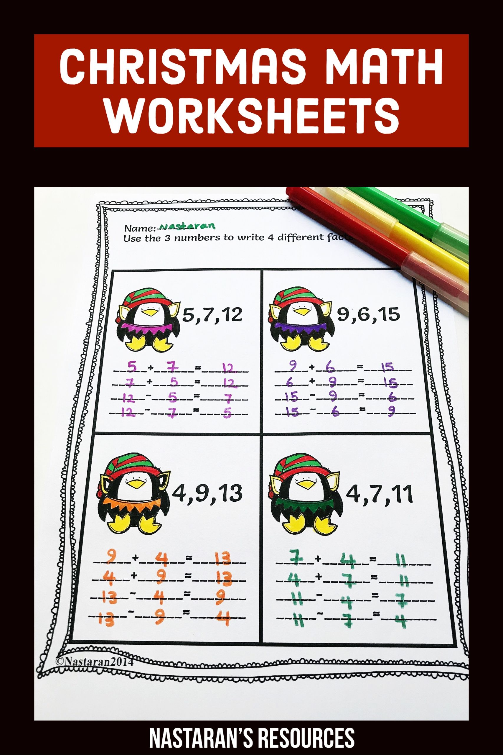 Christmas Math Worksheets 1st Grade