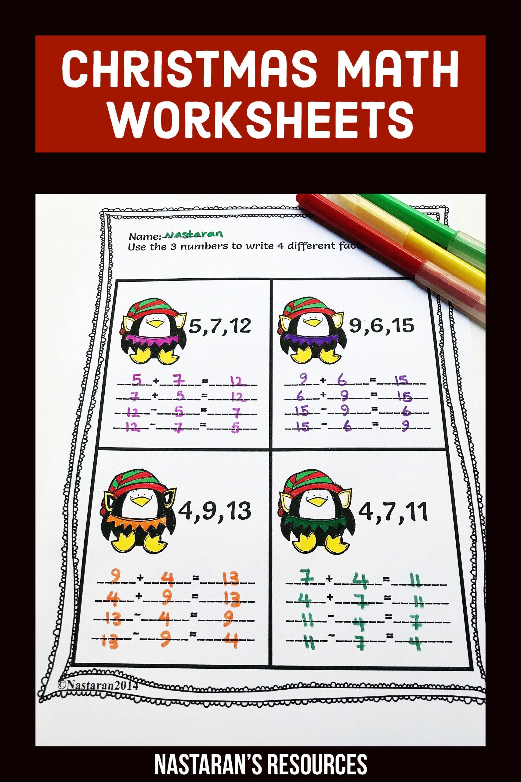 Christmas Math Worksheets 1st Grade