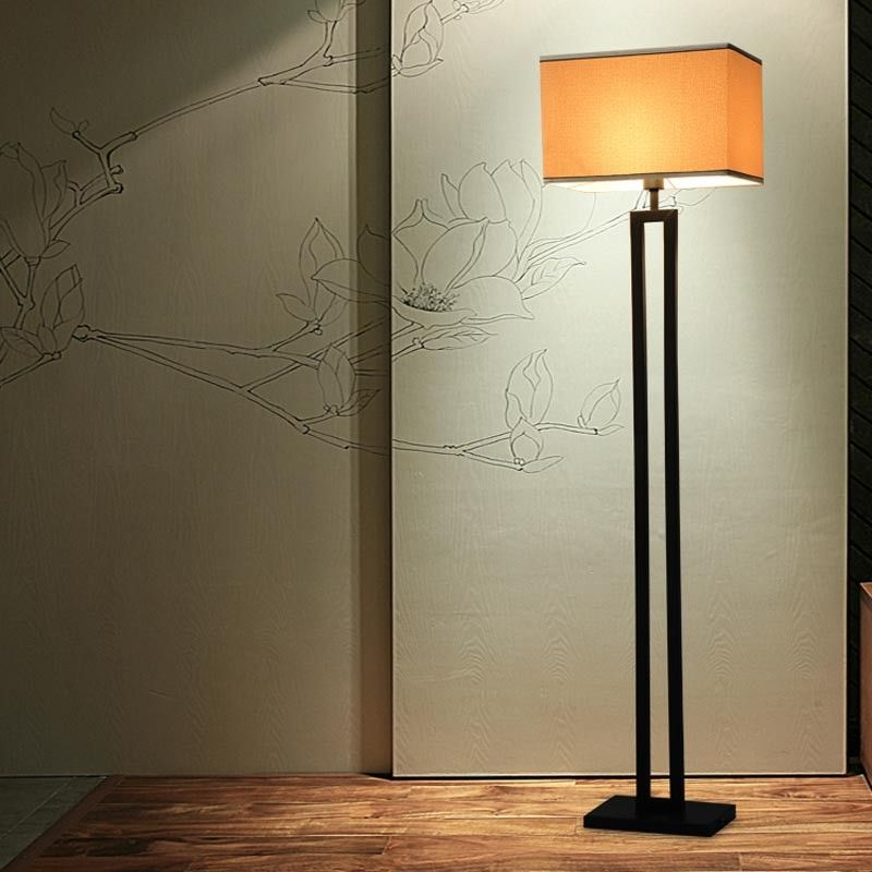 chinese modern black floor lamp flaxen fabric lampshade standing light for living room bedside home decor - Standing Lights For Living Room