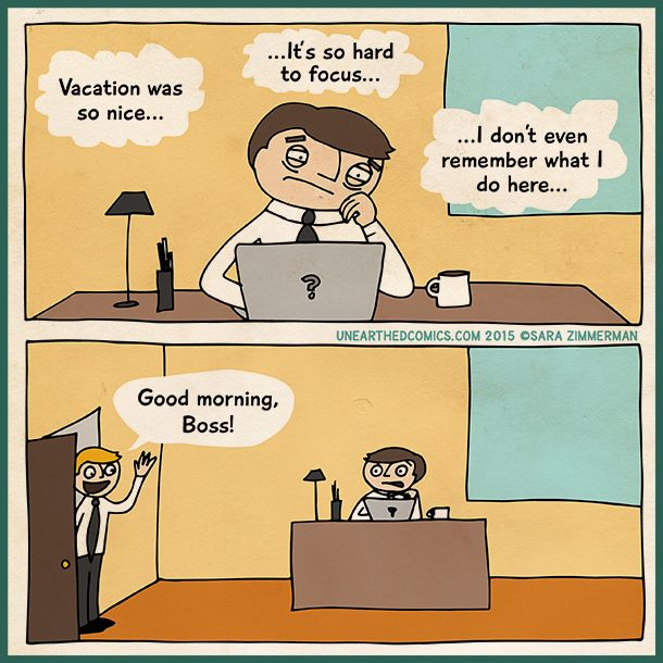 Back To Work Quotes After Vacation: Work Cartoon About Trying To Be Focused At Work After A