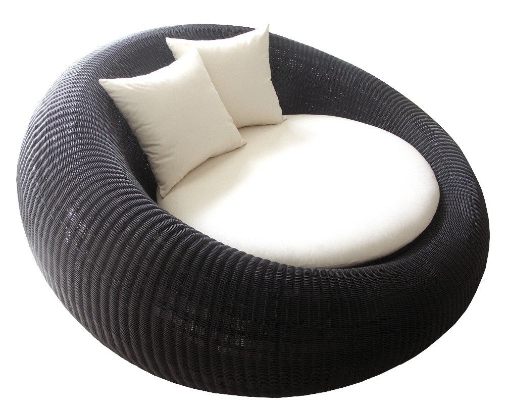 Thailand Round Black Modern Synthetic Rattan Wicker Love ...