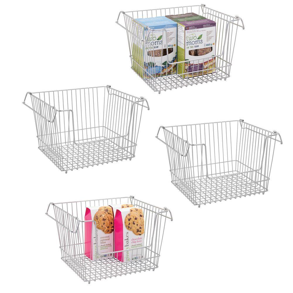 Large Stacking Wire Kitchen Pantry Food Storage Basket Bin Kitchen Pantry Storage Baskets Food Storage Organization