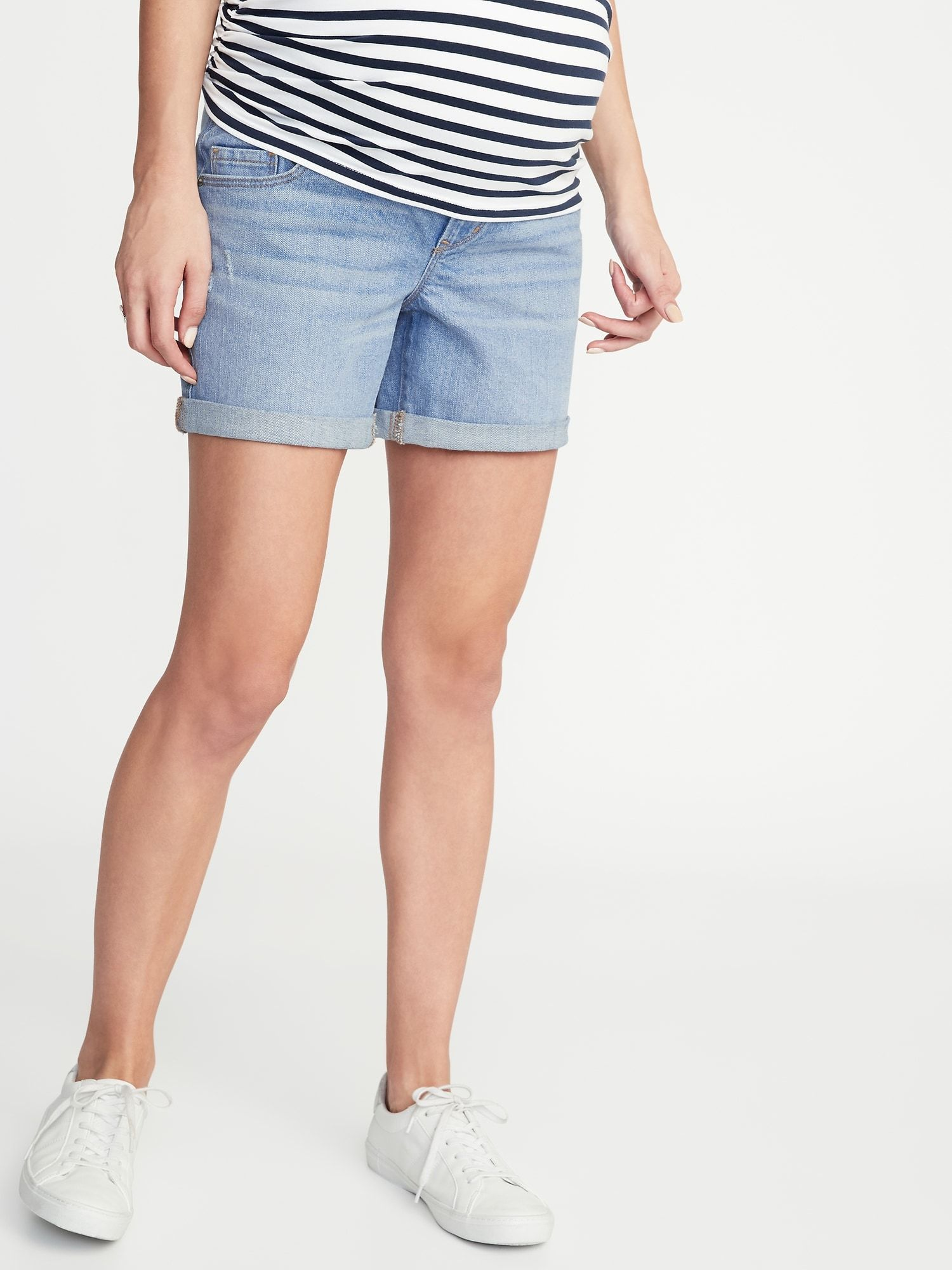 dfb7bee02f Maternity Front-Low Panel Distressed Boyfriend Denim Shorts - 5-inch inseam  | Old Navy