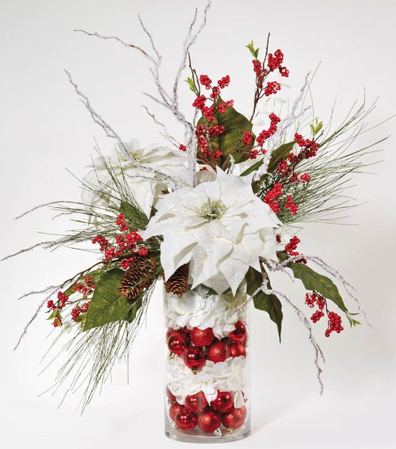 Glass cylinder christmas arrangement navidad for Decoracion christmas navidenos
