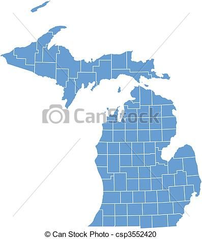Michigan Map With Counties And Cities.Vector Vector Map Michigan Stock Illustration Royalty Free