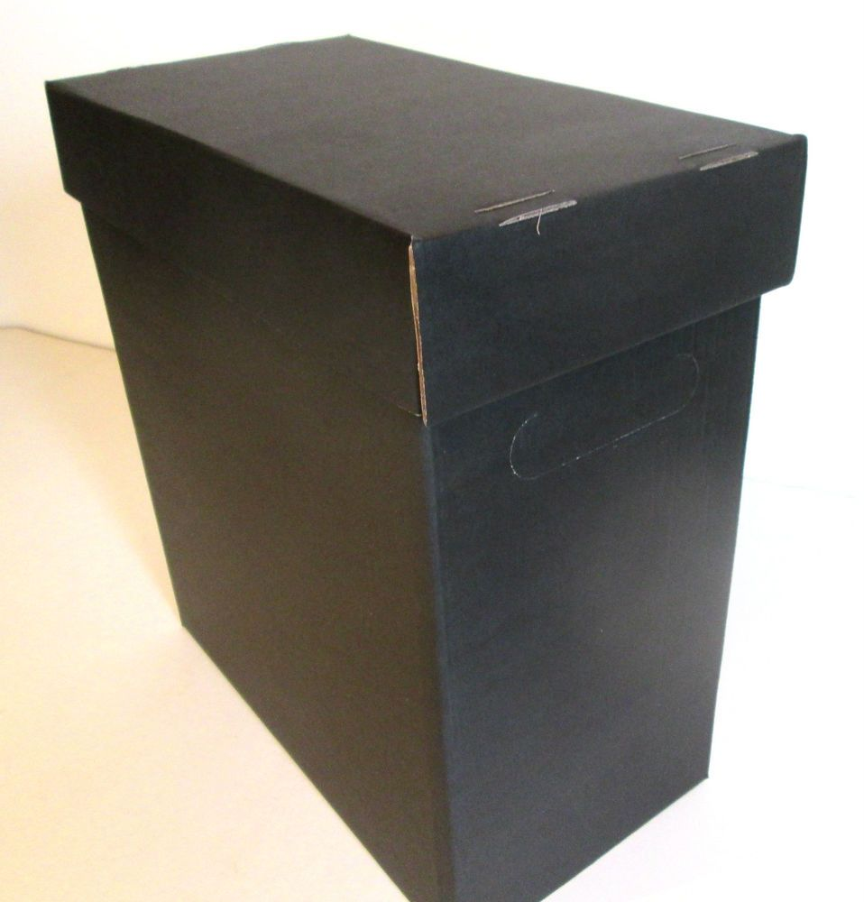 Vinyl Lp 12 Single Black Storage Box X10 Holds