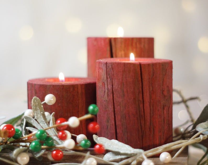 Christmas Candles Holiday Decor Wood Candle Holder Christmas Decorations Rustic Home Decor Rustic Christmas Table Centerpiece Red Barn Christmas Centerpieces Christmas Candles Rustic Christmas