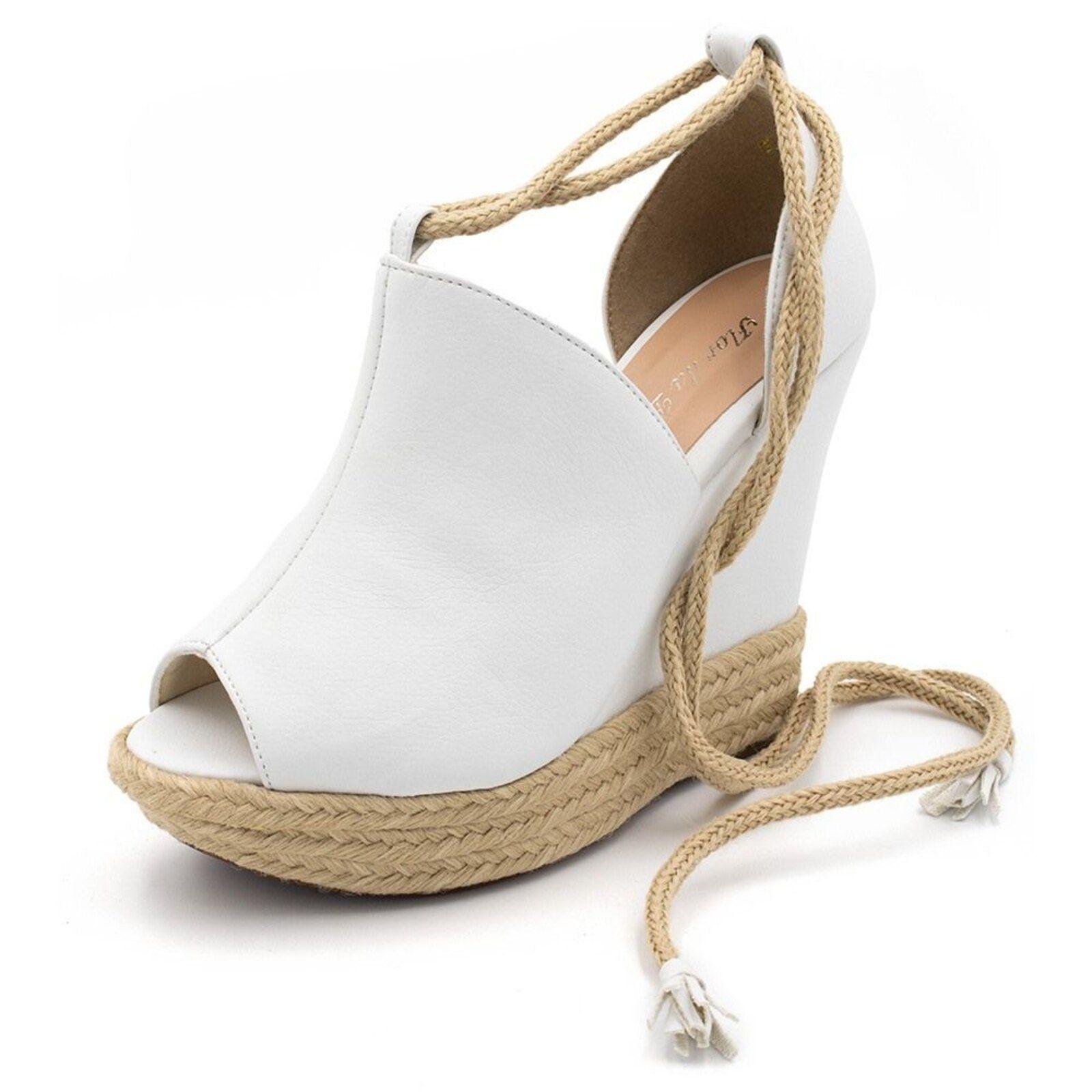 Sandália Anabela Flor da Pele Branca | Calçados novos, Salto