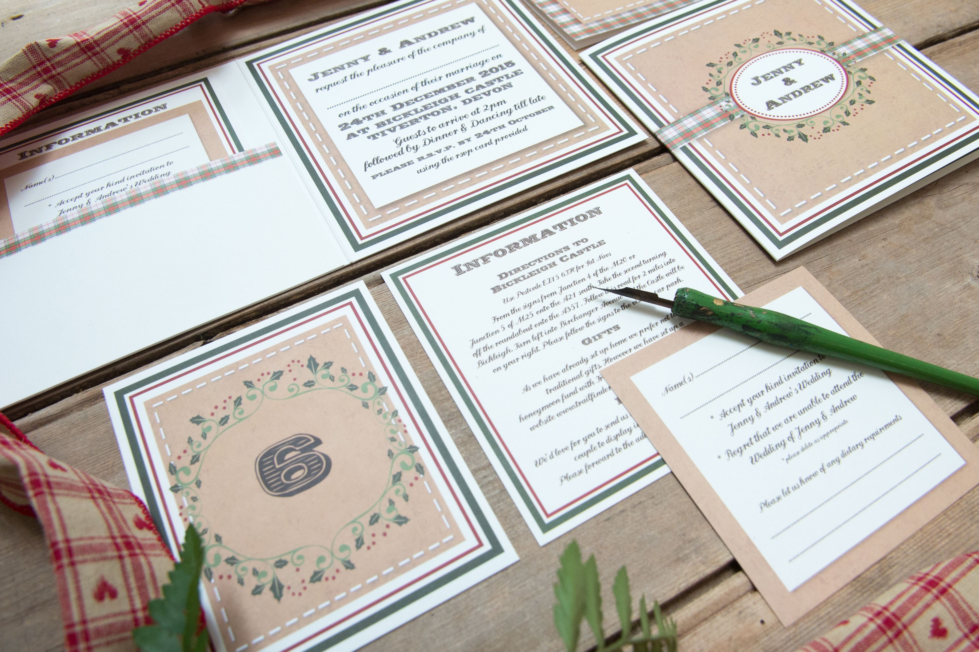 Rustic Vintage Christmas Wedding Invitation Suite with subtle holly ...