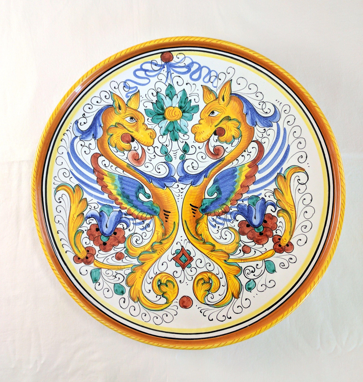 Deruta Italy Large Ceramic Majolica Platter Raffaellesco Dragons 14 1 2 Inches By Tlgvintageart On Etsy Ceramic Platters High Renaissance Italian Ceramics