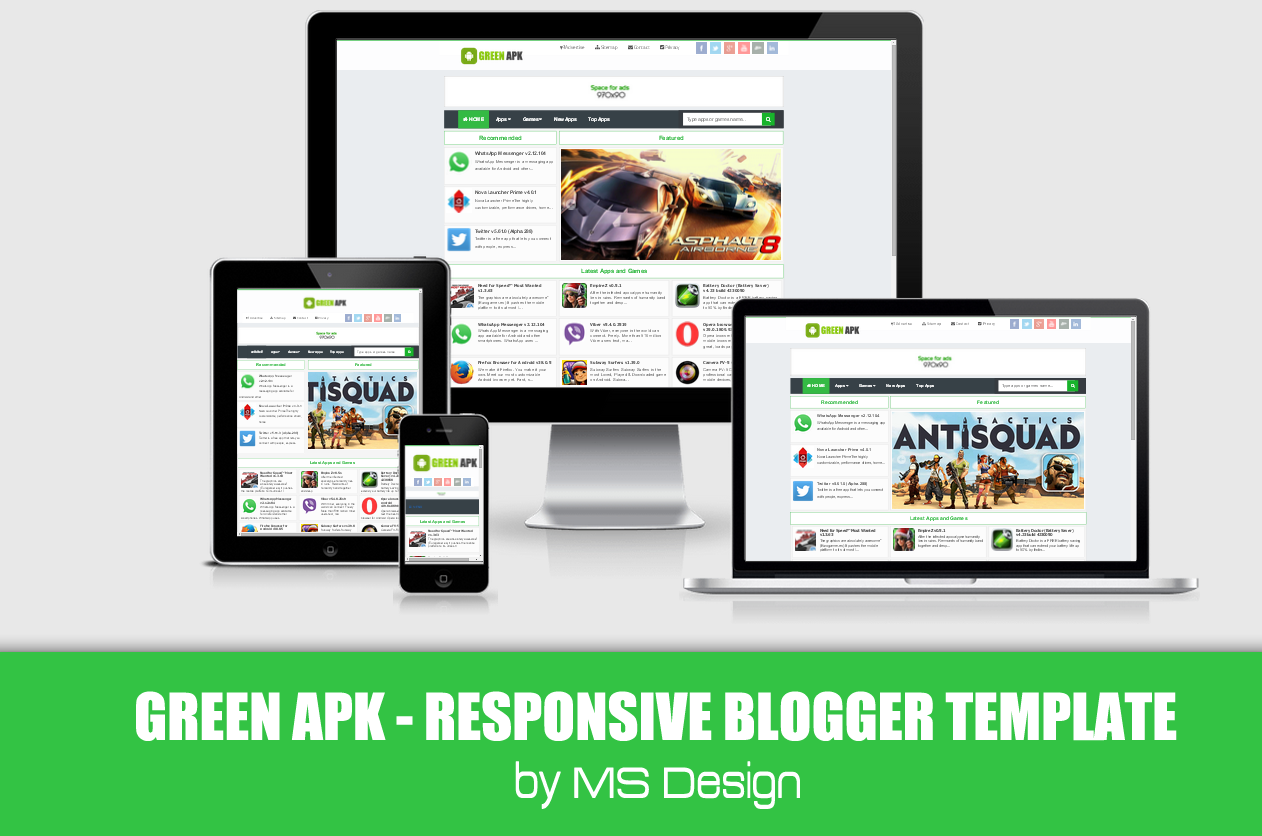 Green APK Responsive Blogger template | Projects to Try | Pinterest