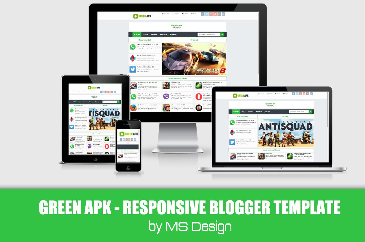 Green APK Responsive Blogger template | Blogger Template | Pinterest