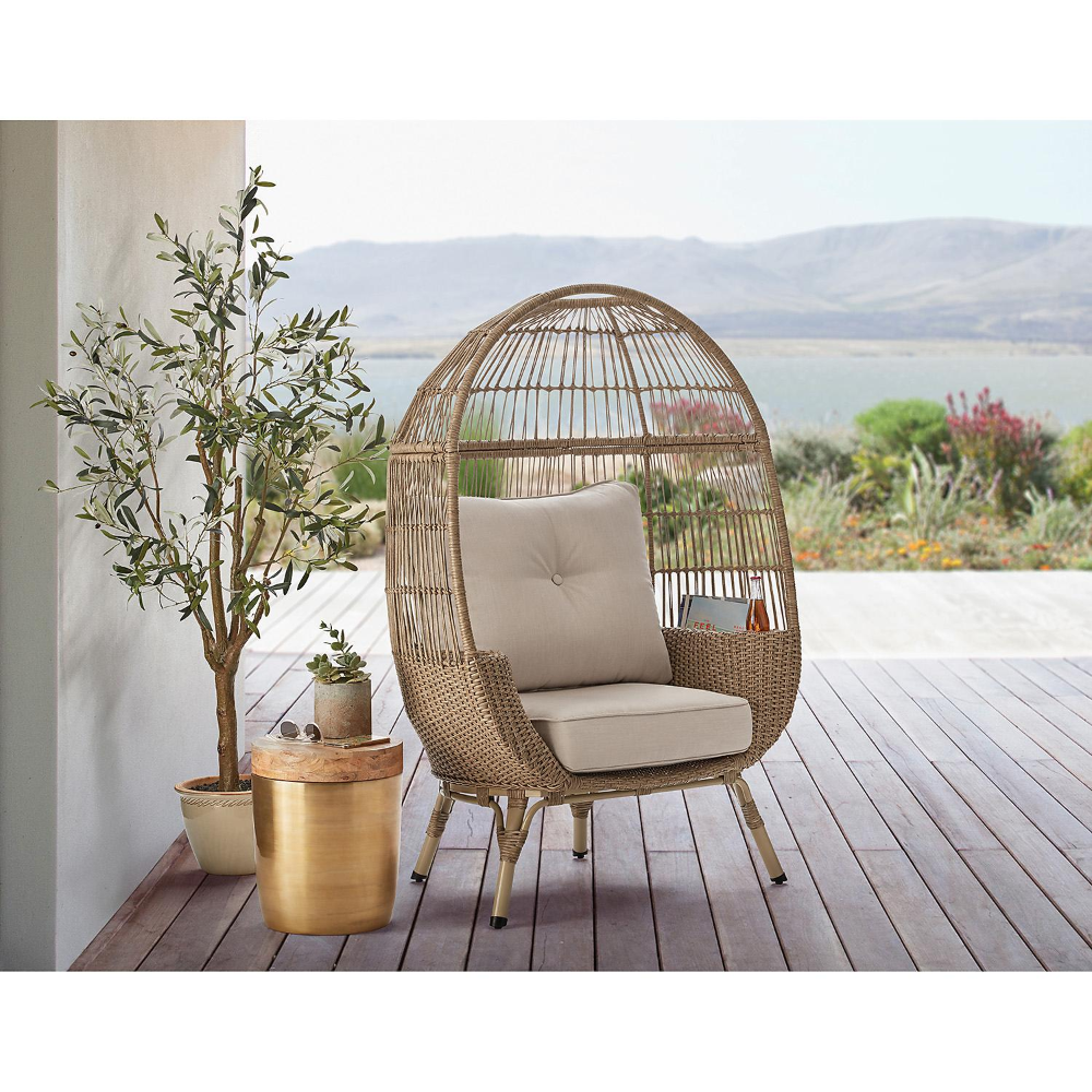 Member S Mark Stationary Egg Chair Brown Sam S Club Egg Chair Black Living Room Decor Living Room Chairs