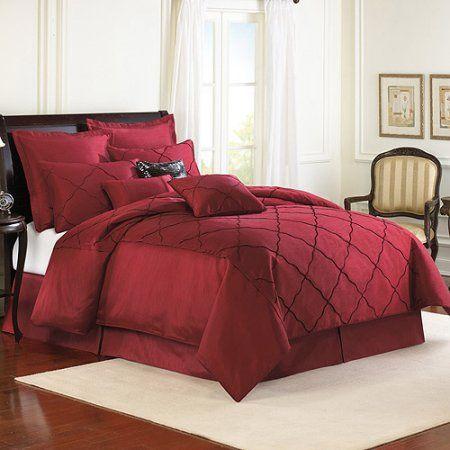 The Veratex Diamonte Comforter Set, Red