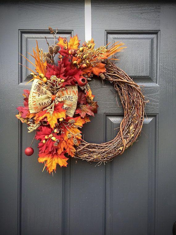 fall wreath autumn leaves small fall wreaths thanksgiving wreath grapevine wreaths