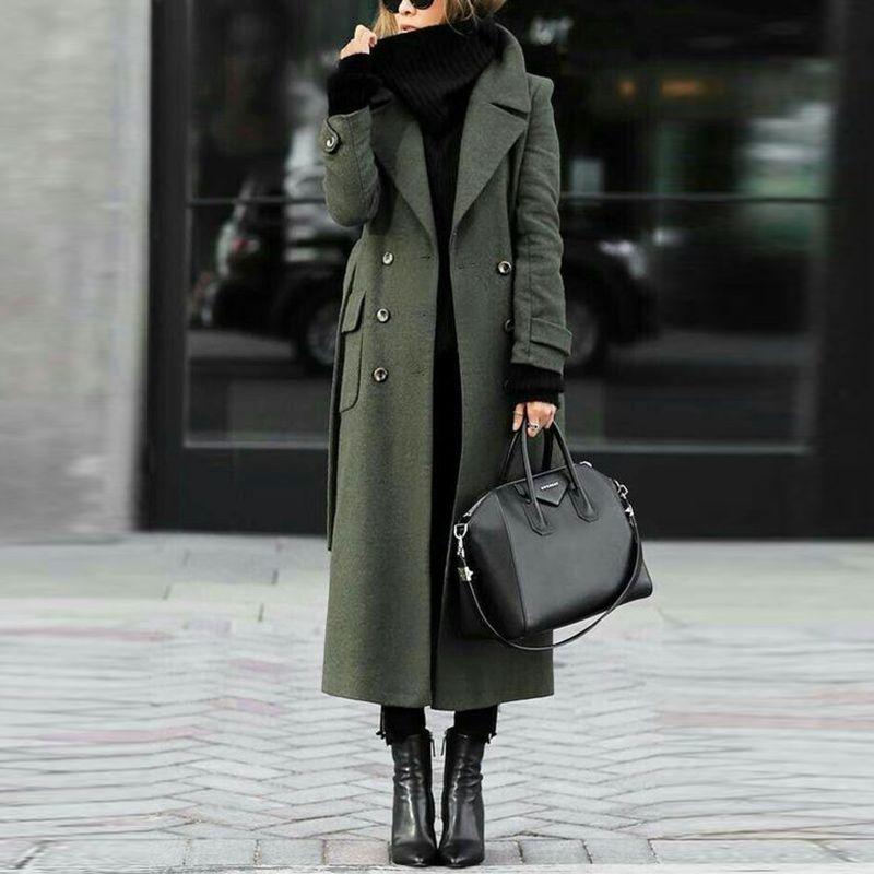 Women Classic TurnDown Collar Elegant Trench Long Coat
