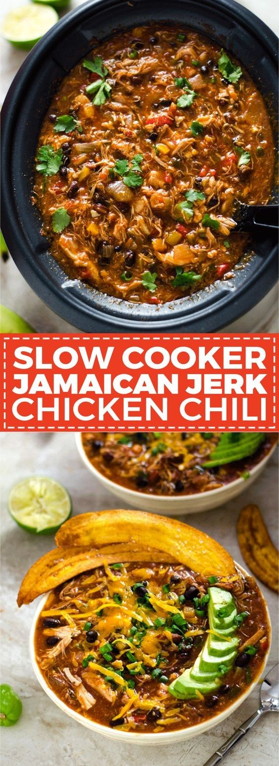 slow cooker jamaican jerk chicken chili with plantain