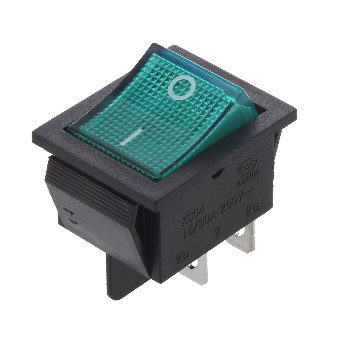 Green Light 4 Pin DPST ON/OFF Snap in Rocker Switch 15A 30A 250V AC ...