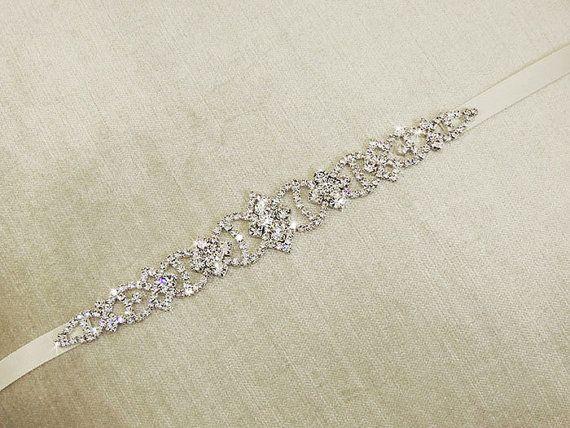 Pari wedding dress belt sash bridal gown rhinestone for Rhinestone belts for wedding dresses
