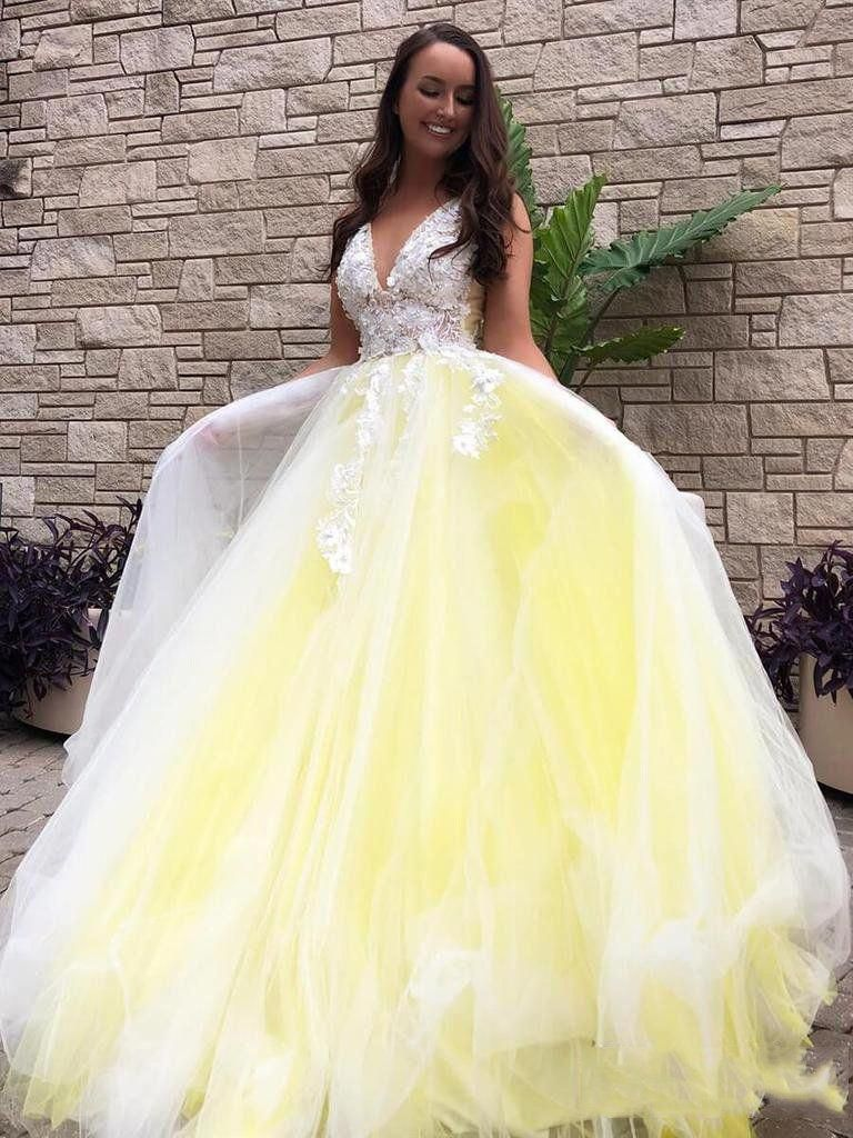 Golddrophoopearrings Prom Dresses Yellow Ball Gowns Tulle Prom Dress [ 1024 x 768 Pixel ]