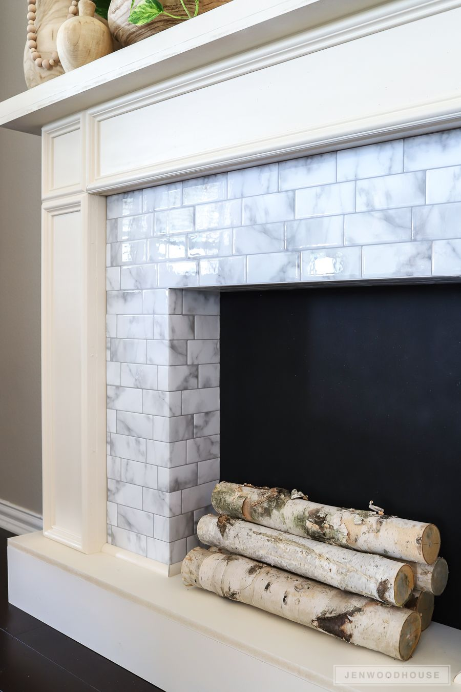 How To Make A Diy Faux Fireplace Featuring Smart Tiles Adhesive Tiles Faux Fireplace Diy Faux Fireplace Smart Tiles