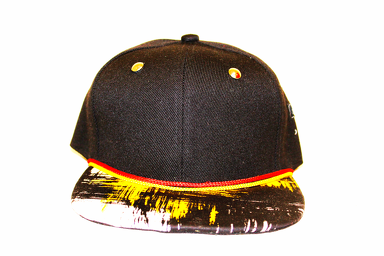 27e7e34df90 Black snapback hat with custom unique brim design with gold tack on top and  red and yellow rope around custom brim