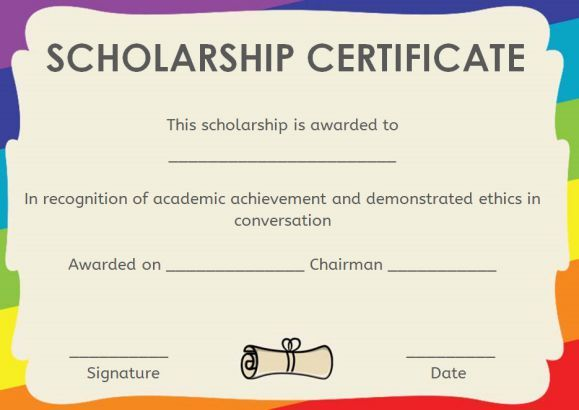 memorial scholarship certificate template