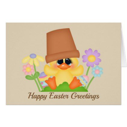 Cute Easter Duck Holiday Add Message Card  Holiday Card Diy