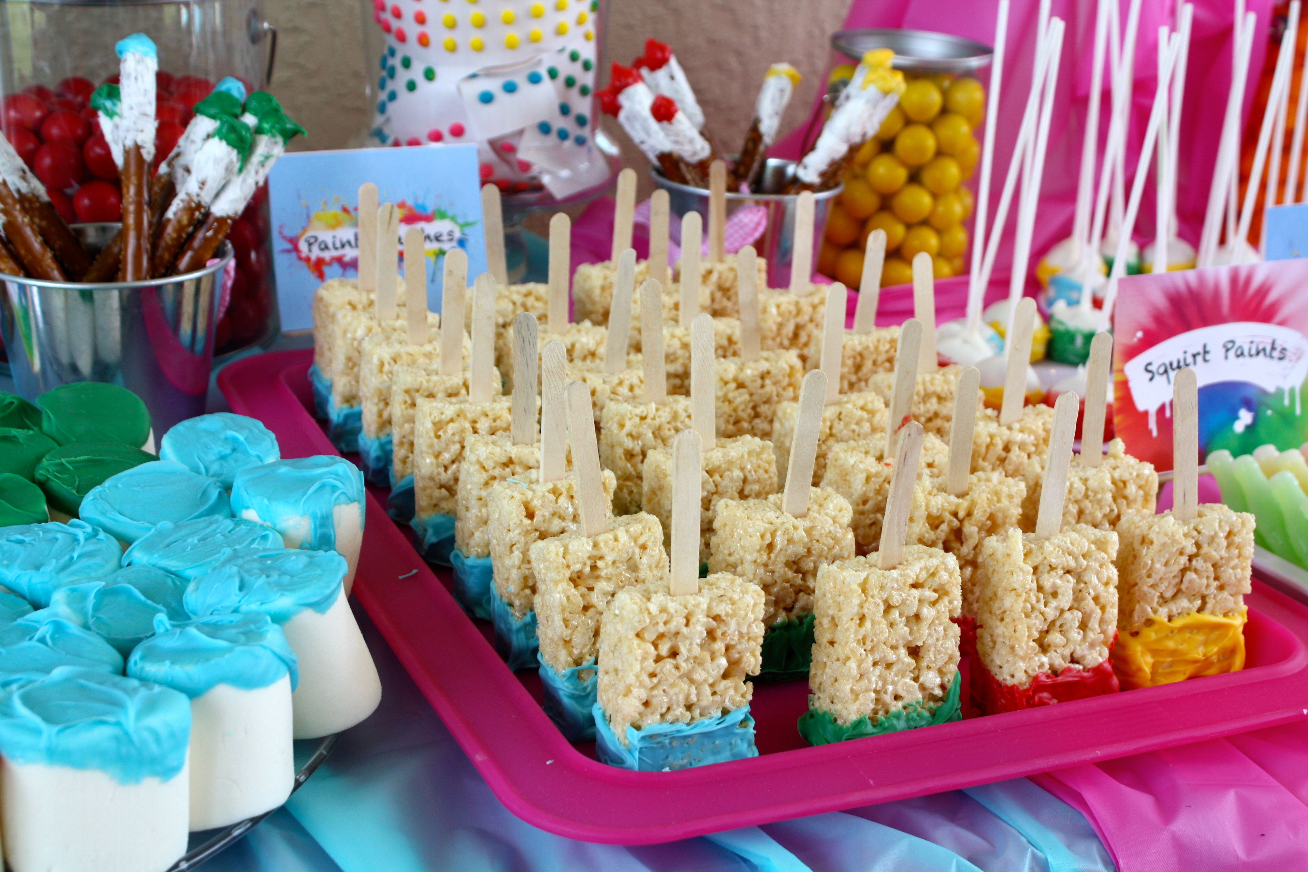 Paint Brushes and Paint Bucket Art Party Foods Art party