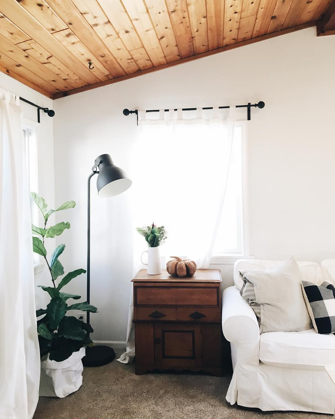 White Walls And Wood Planked Ceiling Wood Plank Ceiling Wood