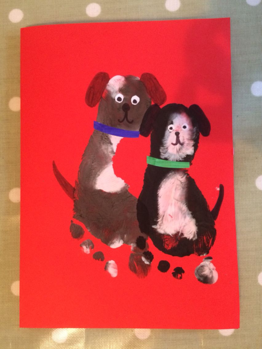 Footprint Dog Birthday Card
