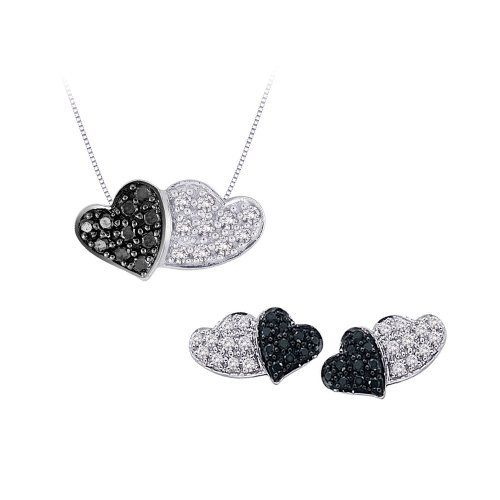 Sterling Silver, Black and White Diamond Heart Jewelry Set (1/3 cttw) Katarina. $149.89