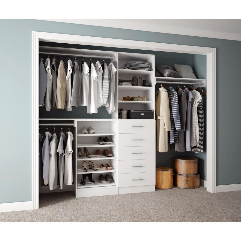 Home Decorators Collection Assembled Reach In 15 In. D X 120 In. W X 84 In.  H Calabria In A Bianco White Melamine 11 Shelves Closet System EN1202 CBO    The ...