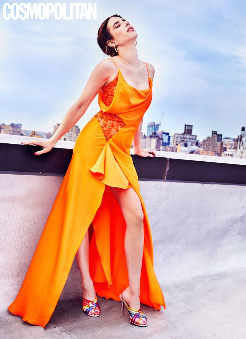 Emma Roberts Cosmopolitan 2019 Cover Photoshoot Fashion Gone Rogue Emma Roberts Gowns Of Elegance Orange Gown