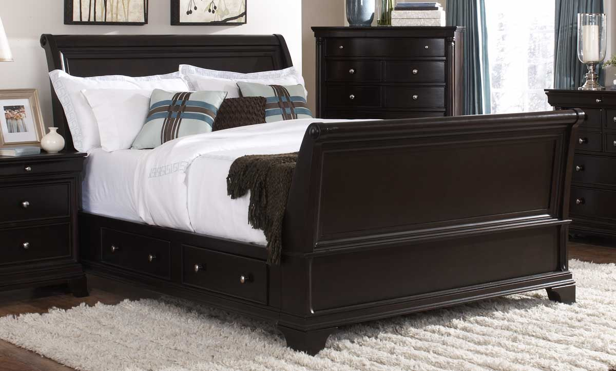 Inglewood King Sleigh Bed W Storage Storage Beds Dark Cherry Furniture Home Elegance