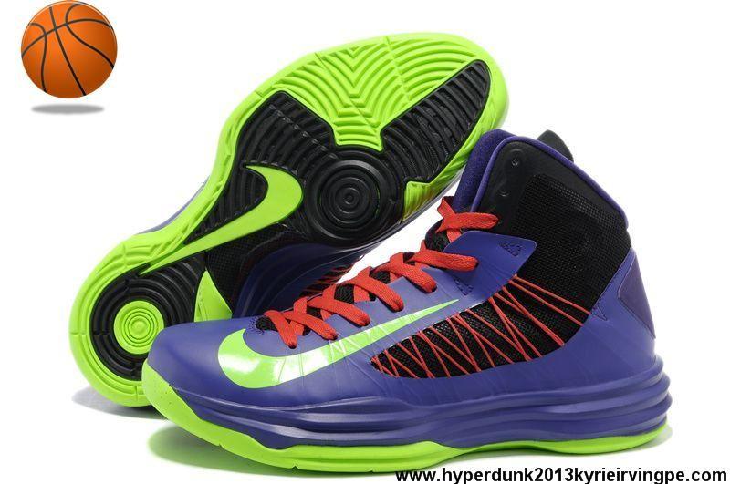 brand new 22e04 205dd Sale Cheap Nike Lunar Hyperdunk 2013 Men s Black Purple Neon Green Red  Sports Shoes Store
