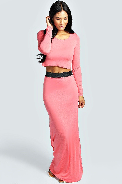 Tilly Long Sleeve Crop Top & Maxi Skirt Co-Ord Set at boohoo.com ...