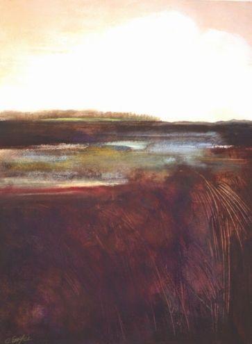 Burgundy Brown Vista, abstract landscape by Carol Engles -- Carol Engles