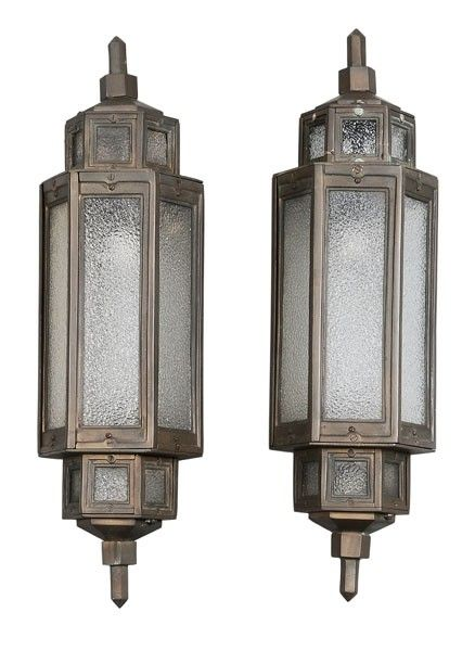 504 Pair Bronze Art Deco Exterior Lights Lighting