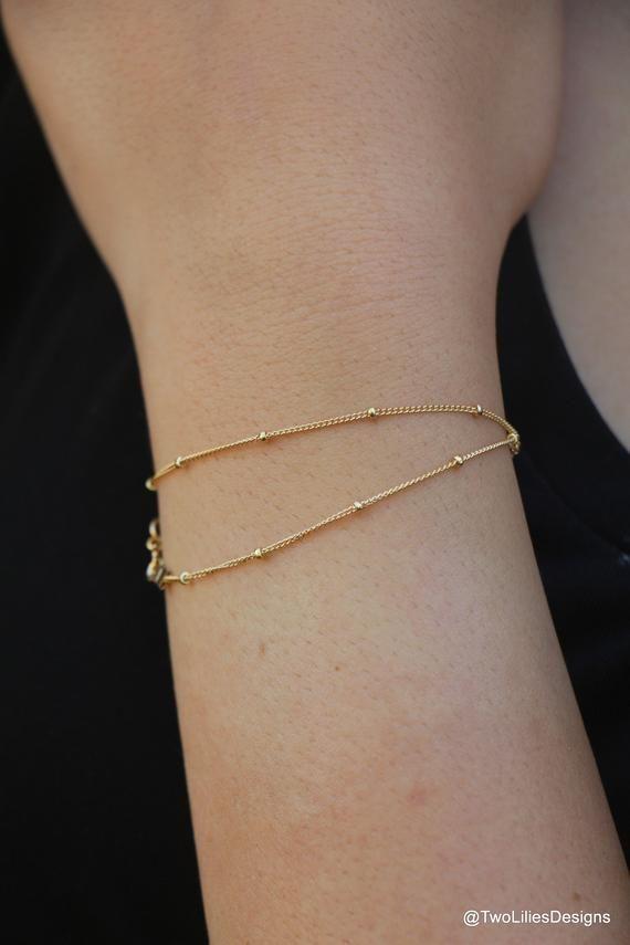 83760173b Dainty Gold Bracelet, 14K Gold Filled bracelet, Simple Gold Bracelet,  Minimalist Satellite Chain Bra