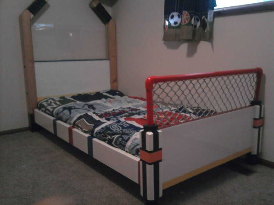 Hockey Bed By Bman15 Lumberjocks Com Woodworking Community Hockey Bedding Hockey Bedroom Hockey Room