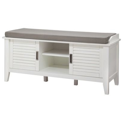 Storage Bench With Slatted Doors Wood Threshold