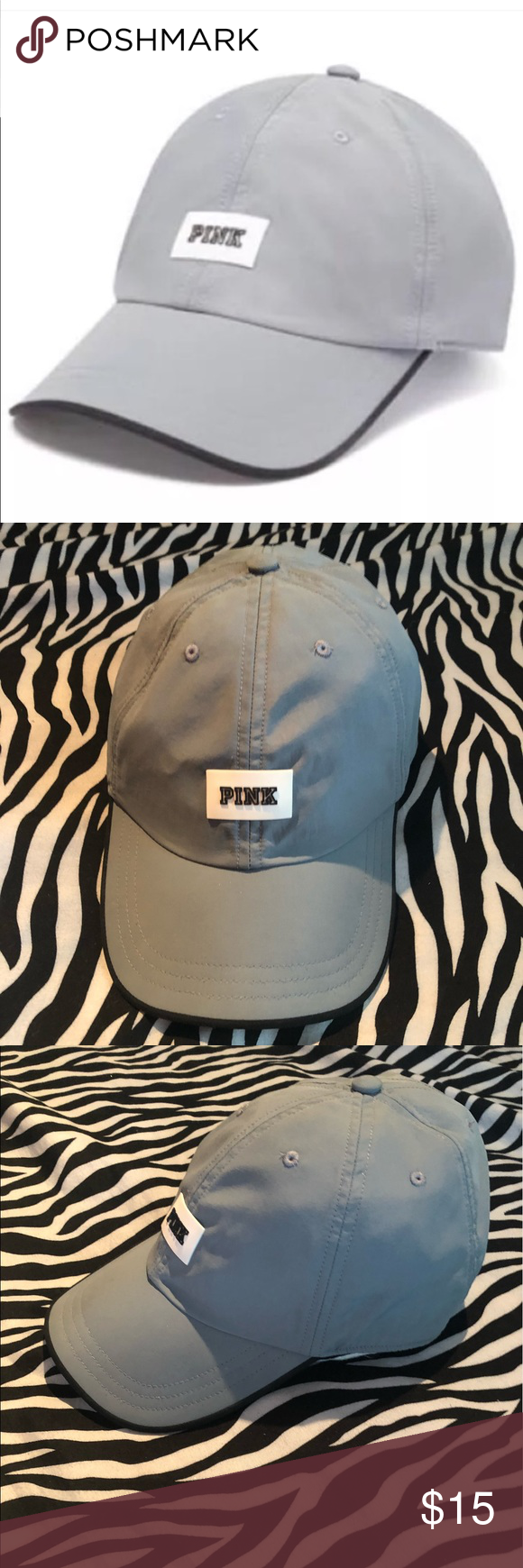 ff095f558dd Victoria s Secret pink dad hat cap 🧢 VS PINK GREY sports clip cap.  Breathable and water resistant perfect for working out or outdoor  activities.