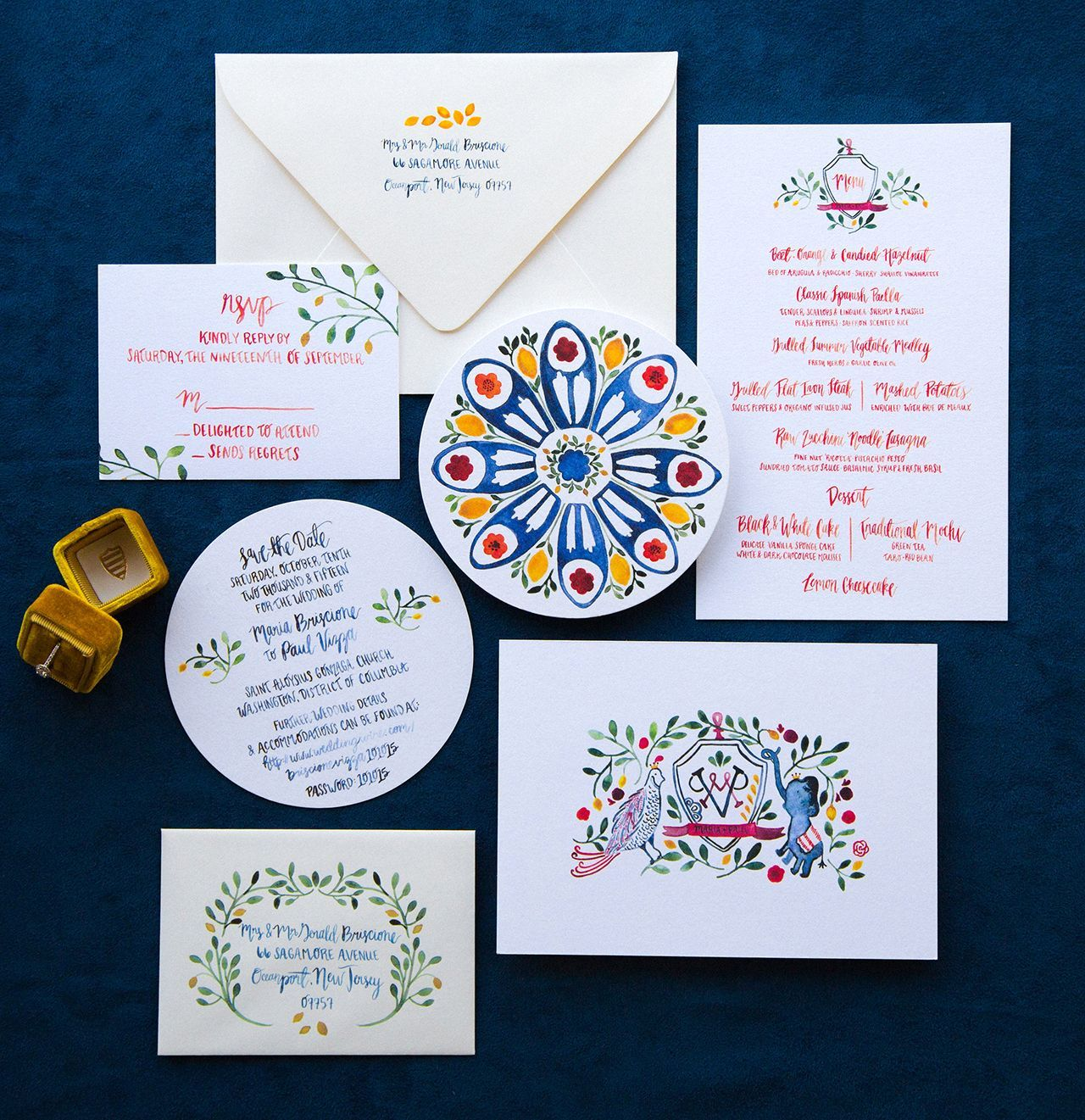 Vibrant blue and red watercolor wedding invitations by lovely paper